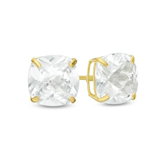 Zales 8.0mm Cushion-Cut Lab-Created Aquamarine Stud Earrings in Sterling Silver ogAFmN0Pm9