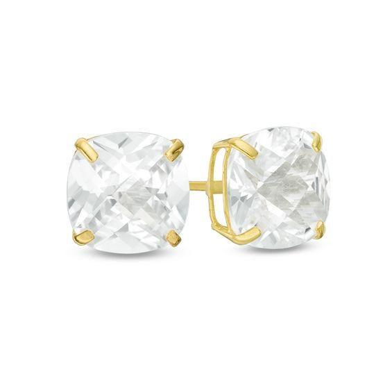 Zales 8.0mm Cushion-Cut Garnet Solitaire Stud Earrings in 10K Gold U5nhFD
