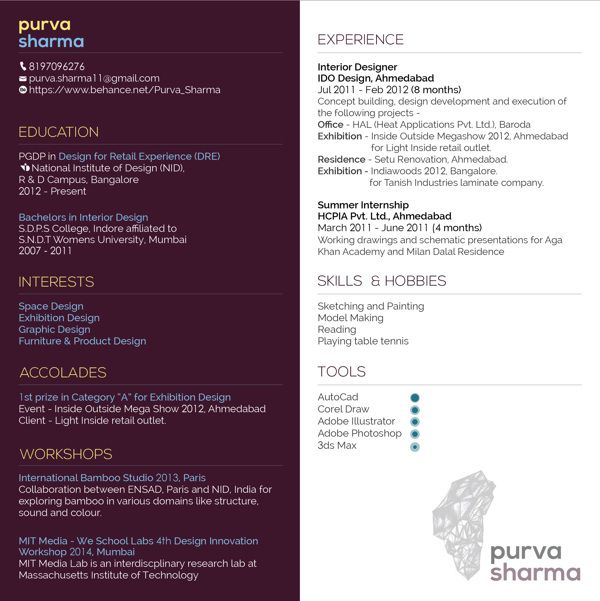 an alternative high contrast resume by purva sharma via