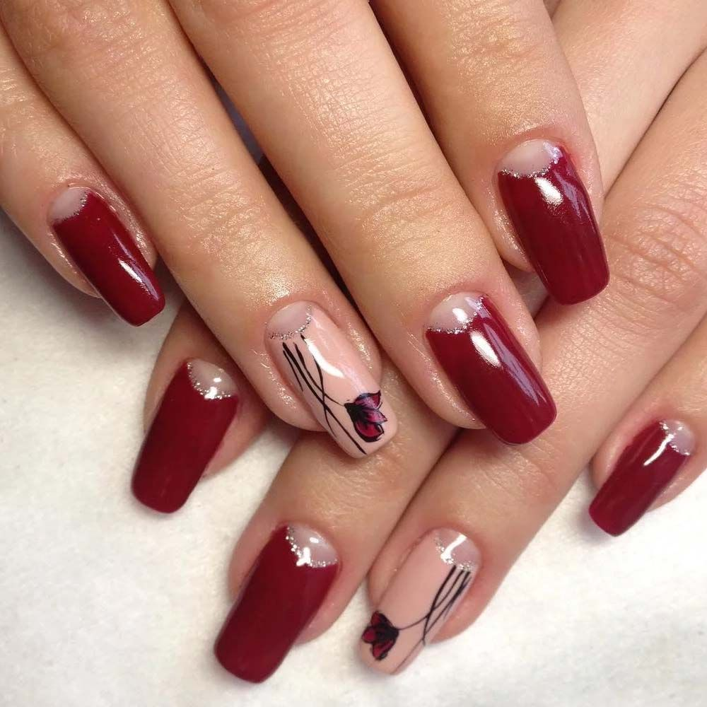 Maroon Floral Nail Art 2019 Red And Gold Nails Red Nails Flower Nails