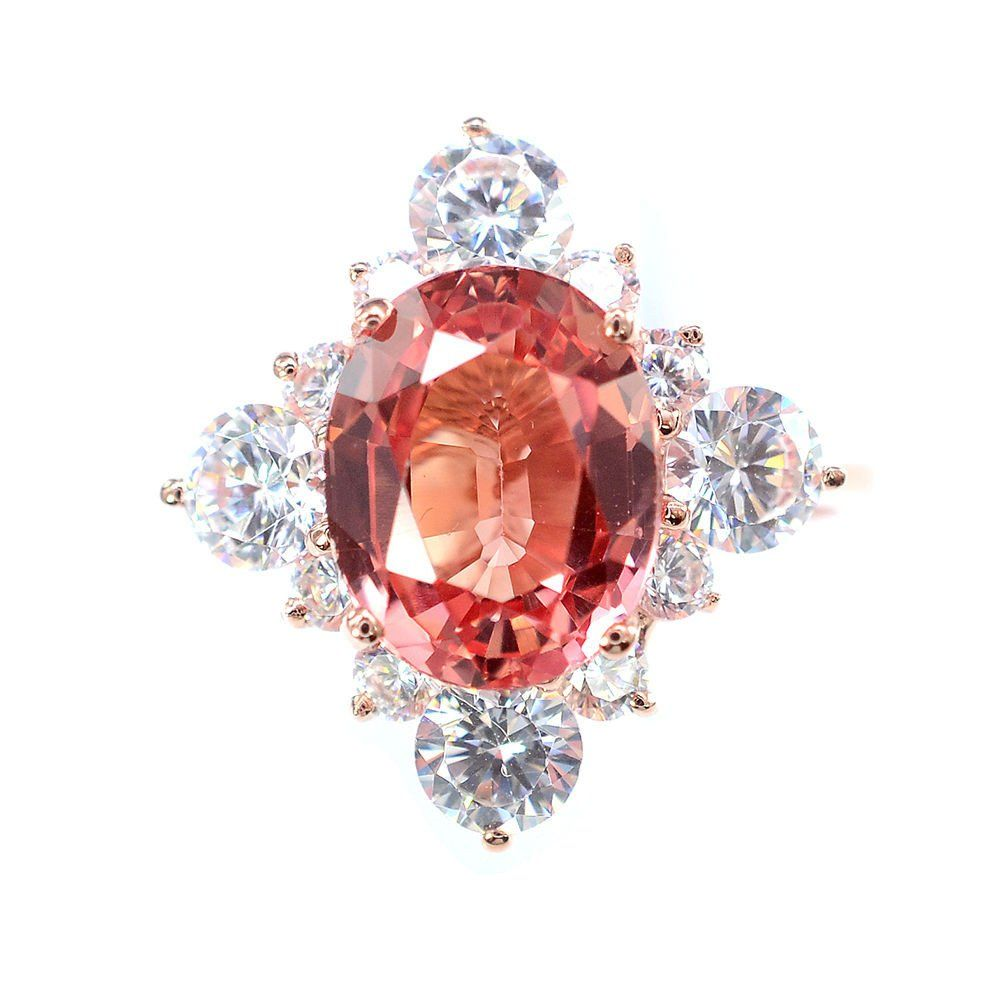 A vintage ct oval cut pink padparadscha sapphire rose gold
