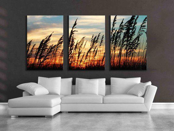 Sunrise Florida Ocean Bright Beautiful Color Photography Three Piece Canvas Set Bedroom Nature Beach