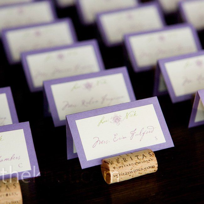 Guests names were printed on ivory and lavender cards and held in place with veritas vineyard wine corks