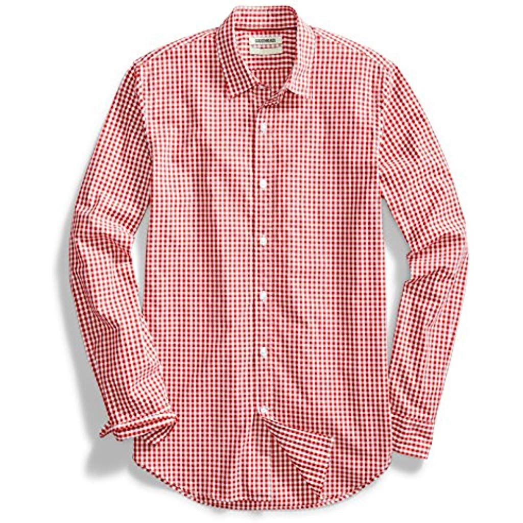 Goodthreads Mens Standard-Fit Long-Sleeve Printed Poplin Shirt Brand