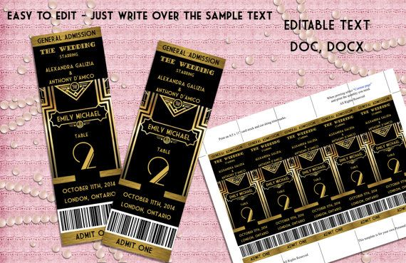 Great Gatsby Style Art Deco Table Numbers Card - Ticket Style - prom ticket template