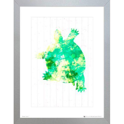 Photo of Poster Grüne Schildkröte Haus am Meer Format: Rahmen aus Walnussholz, Größe: 40 cm H x 30 cm B