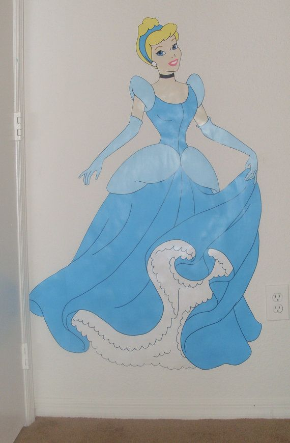 3 ft tall cinderella disney princess custom hand painted for Disney princess mural asda
