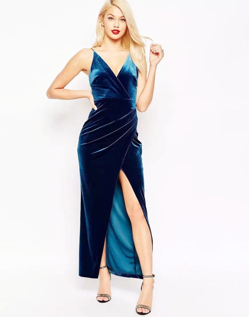 Colorblue women sexy velvet prom dress sizesxl dress