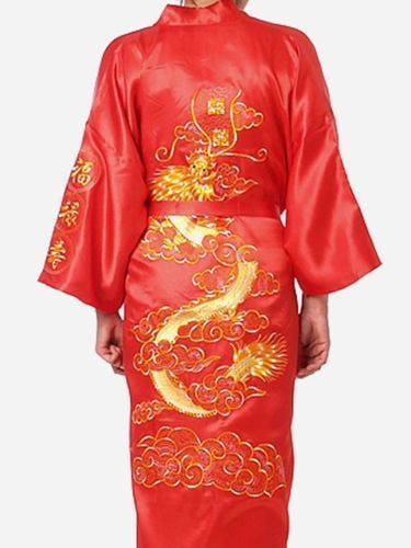 Men/'s Silk Satin Japanese Chinese Kimono Dressing Gown Bath Robe Nightwear