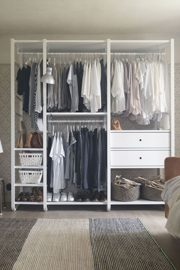 you choose how to combine ikea elvarli shelving so you can create clothing storage that s a. Black Bedroom Furniture Sets. Home Design Ideas