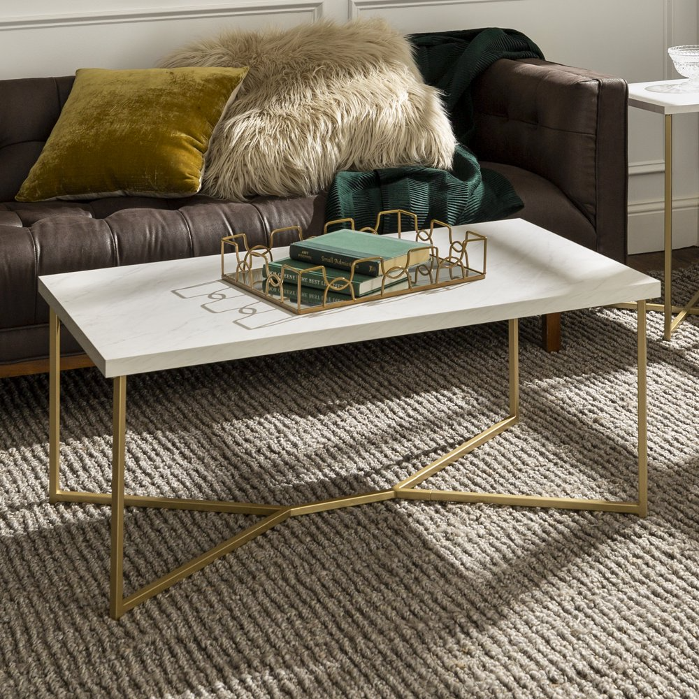 Diana Y Leg White Faux Marble And Gold Coffee Table By Ember Interiors Walmart Com In 2021 Gold Coffee Table Coffee Table Rectangle Coffee Table [ 1000 x 1000 Pixel ]