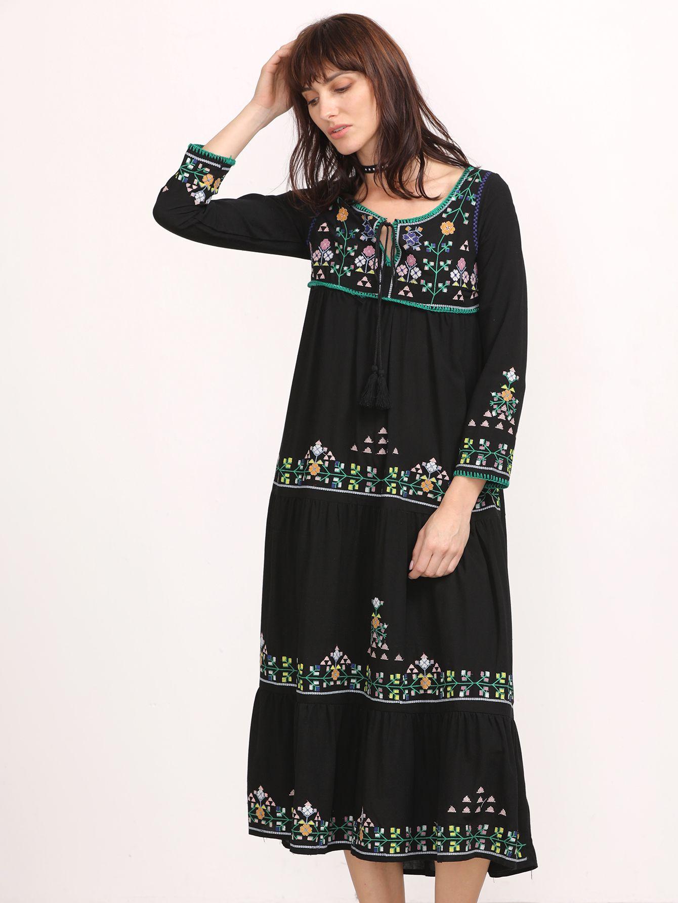 #AdoreWe #SheIn Dresses - SheIn Black Embroidery Tassel Tie Neck Tiered Dress - AdoreWe.com