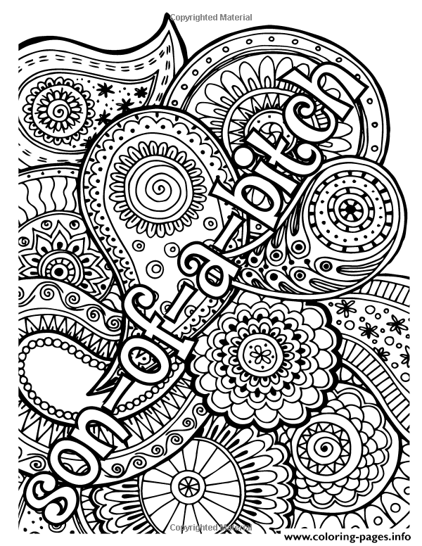 Print son of bitxh word adult coloring pages #adultcoloringpages