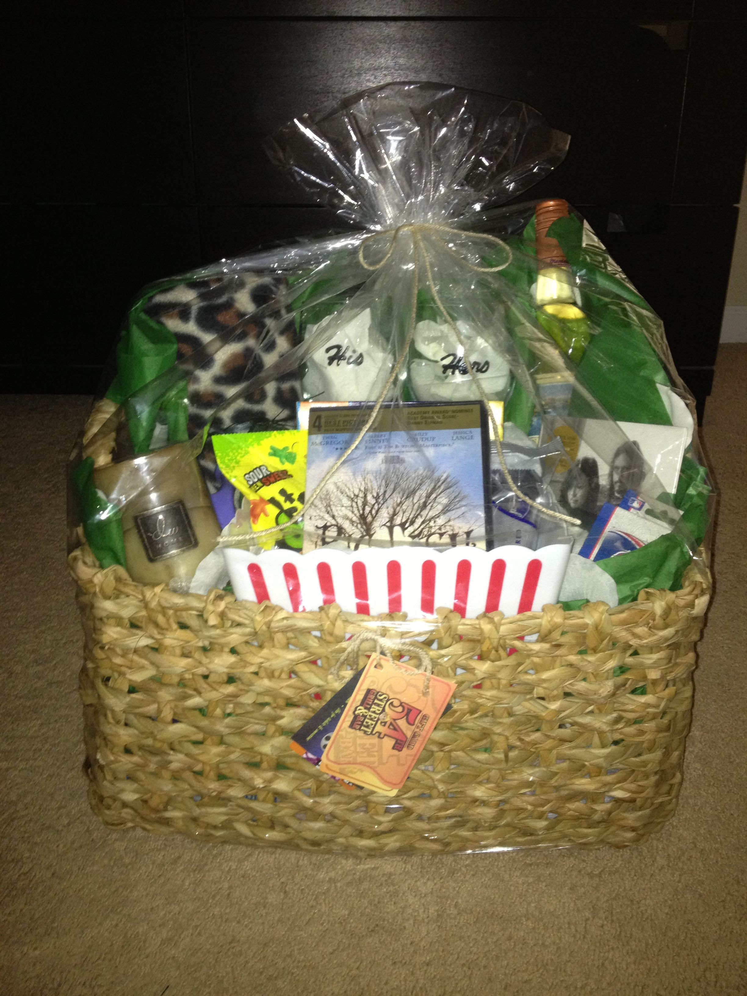 Pin By Brittany Montgomery On My Finished Projects Movie Night Gift Basket Couple Gifts Basket Couple Gift Basket Ideas