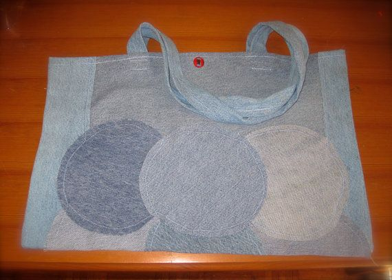 Jean tote 19 x 12 inches by StitchMonkeys on Etsy, $35.00