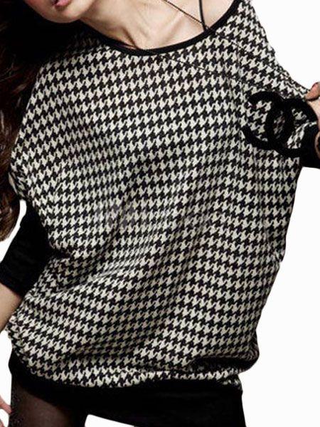 Vestido corto de algodón negro con manga murciélago - Milanoo.com