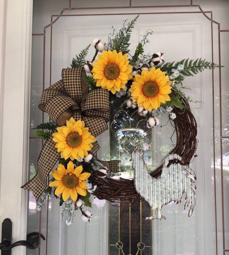 Photo of Sunflower Wreaths Wreath for Front Door Chicken Wreath Farmhouse Wreath Rustic Wreath Country Wreath Spring Wreath Housewarming Gift Ideas