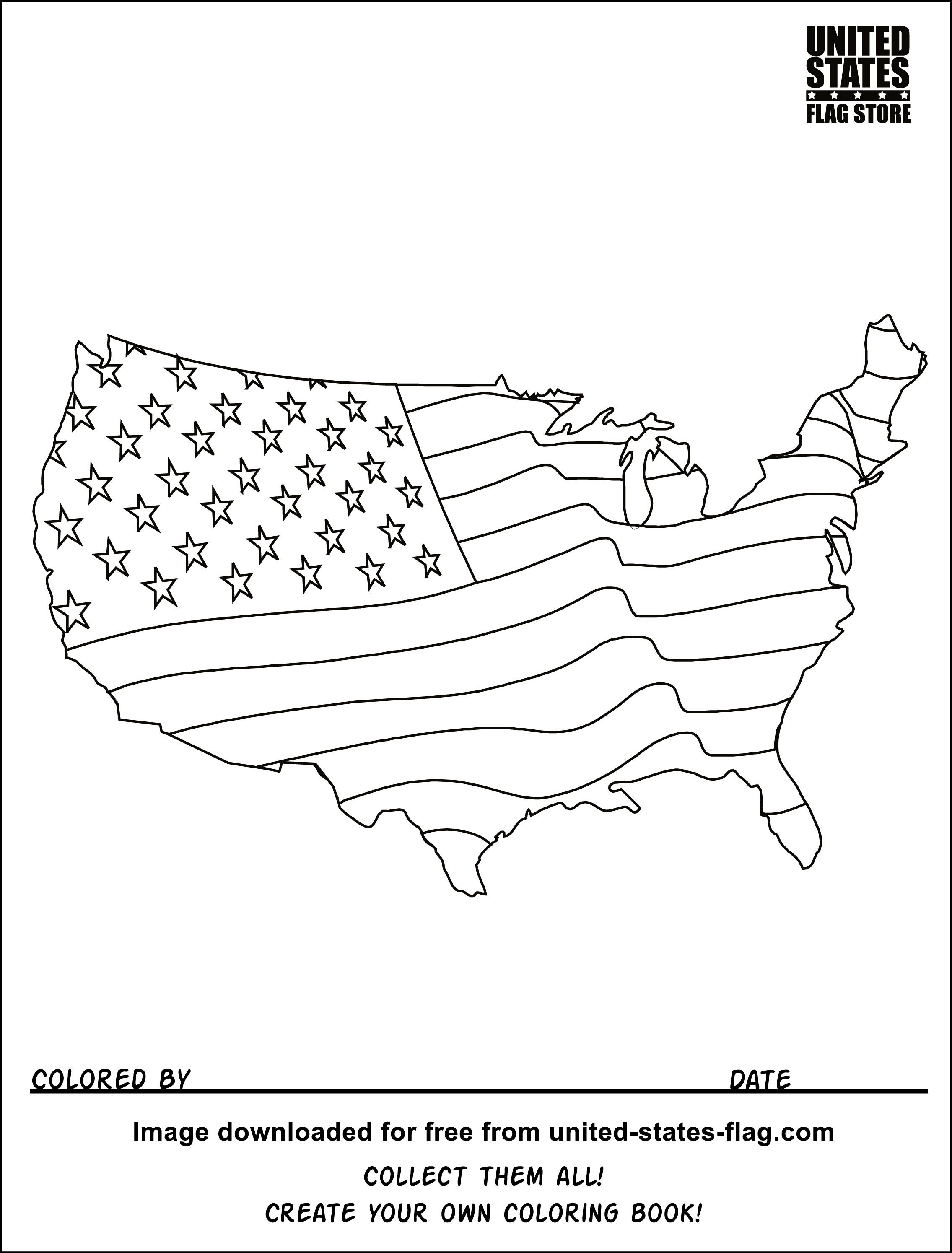 U S Flag Coloring Pages American Flag Coloring Page