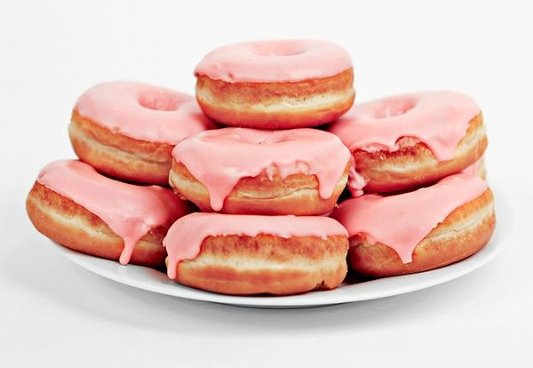 pink glazed doughnuts are perfection.
