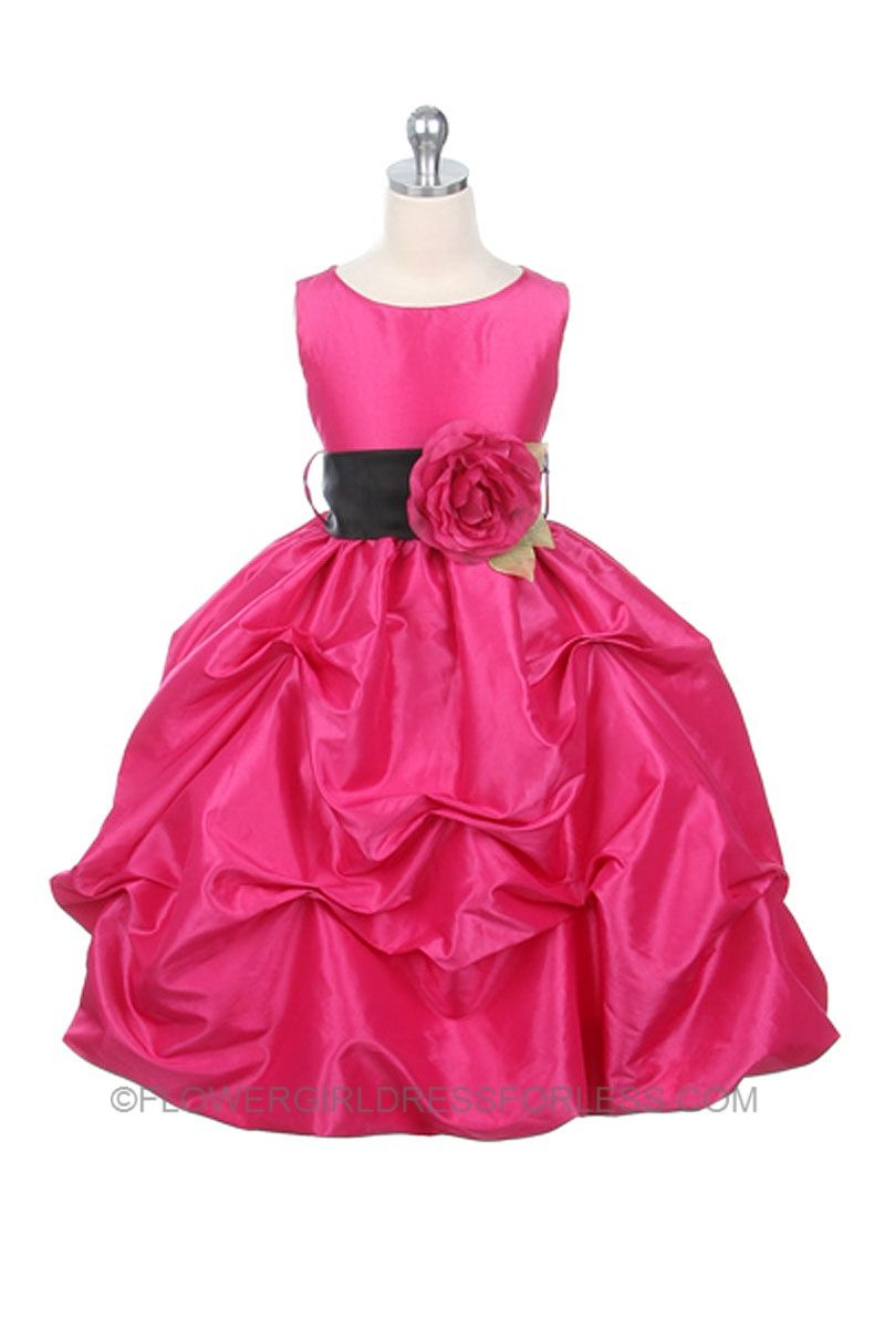Flower Girl Dress Style 119-Hot Pink-BUILD YOUR OWN DRESS! Choice of 139 Sash and 51 Flower Options $49.99