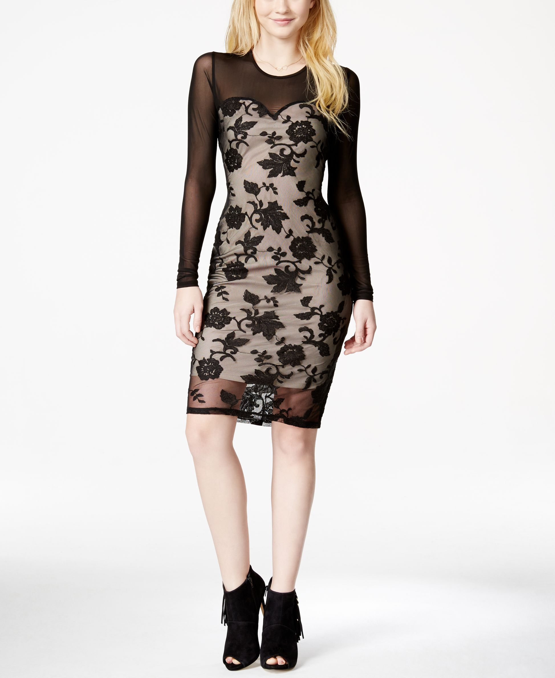 Material girl juniorsu illusion embroidered contrast bodycon dress