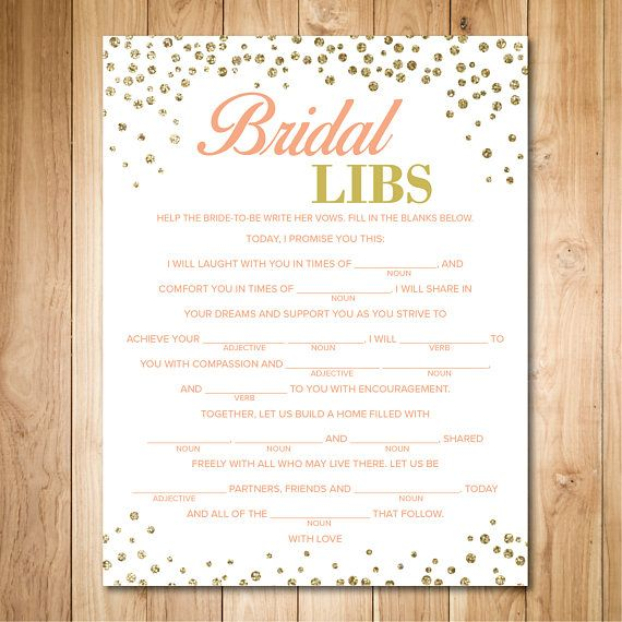 Wedding Vow Mad Libs Printable: Gold Bridal Shower Games