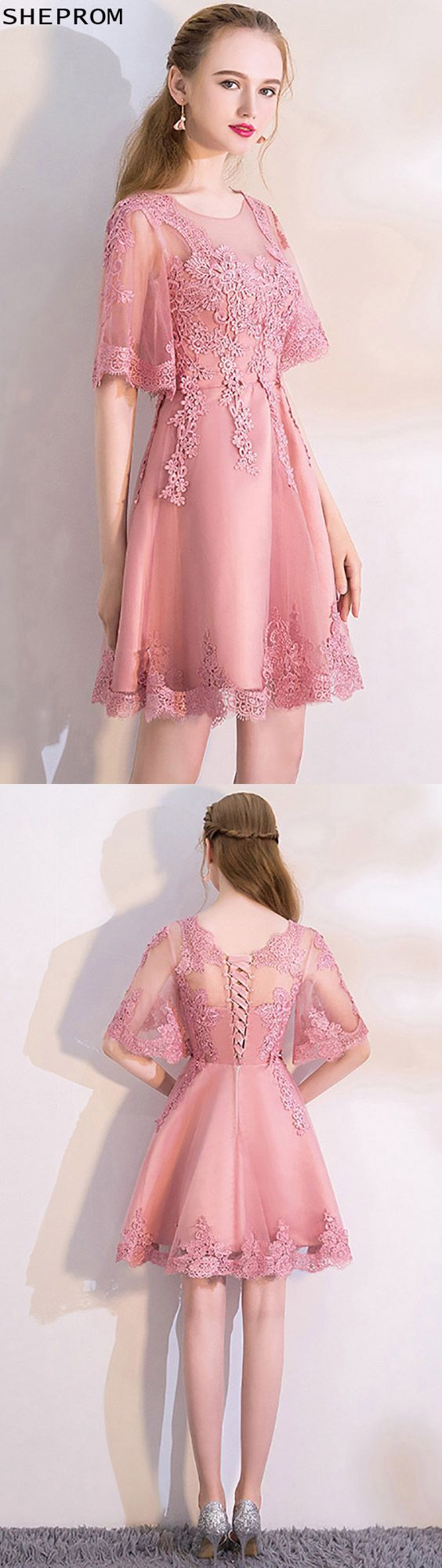 Pink Lace Short Homecoming Dress with Puffy Sleeves