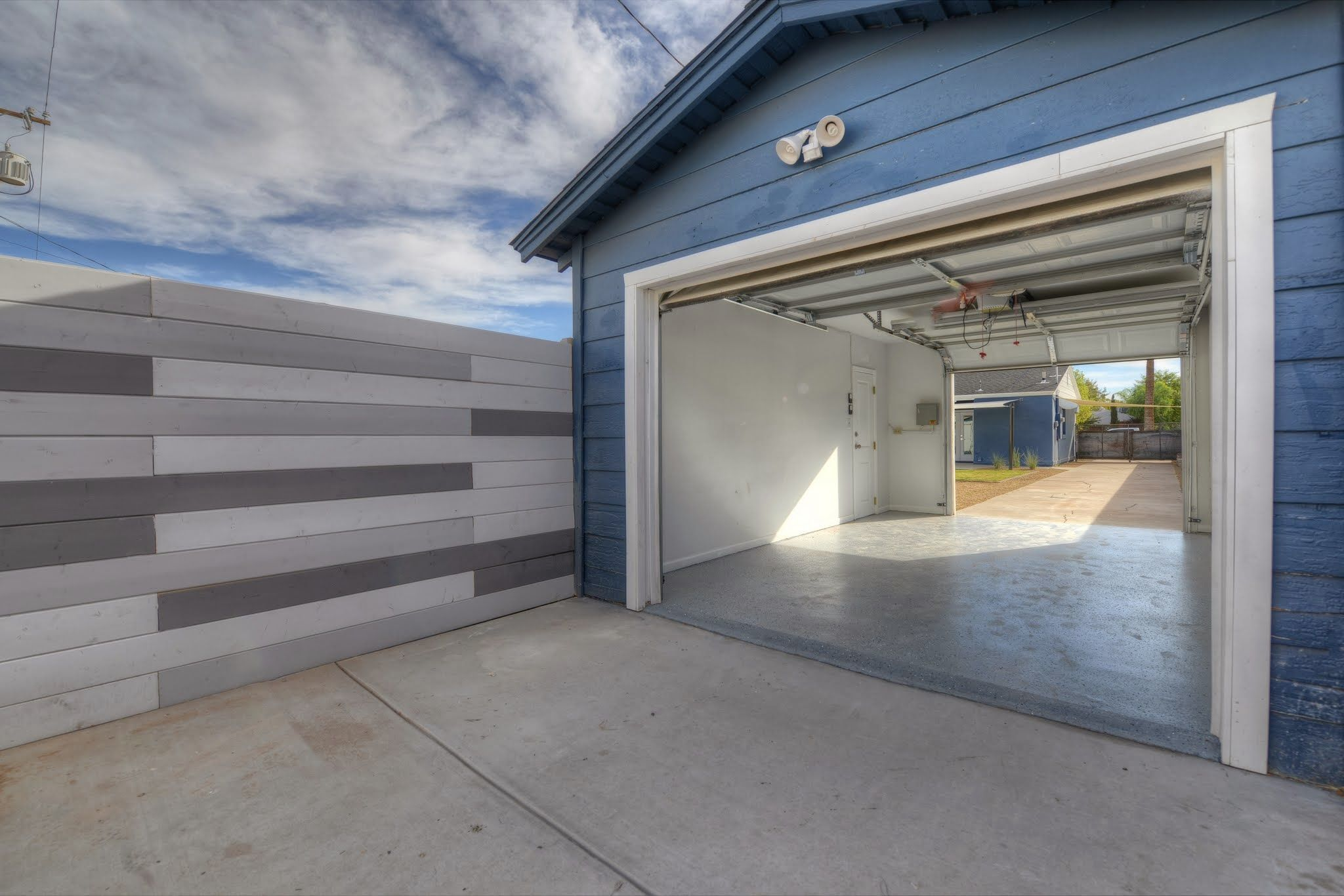 Garage With Front And Back Garage Doors Backyard Patio Double