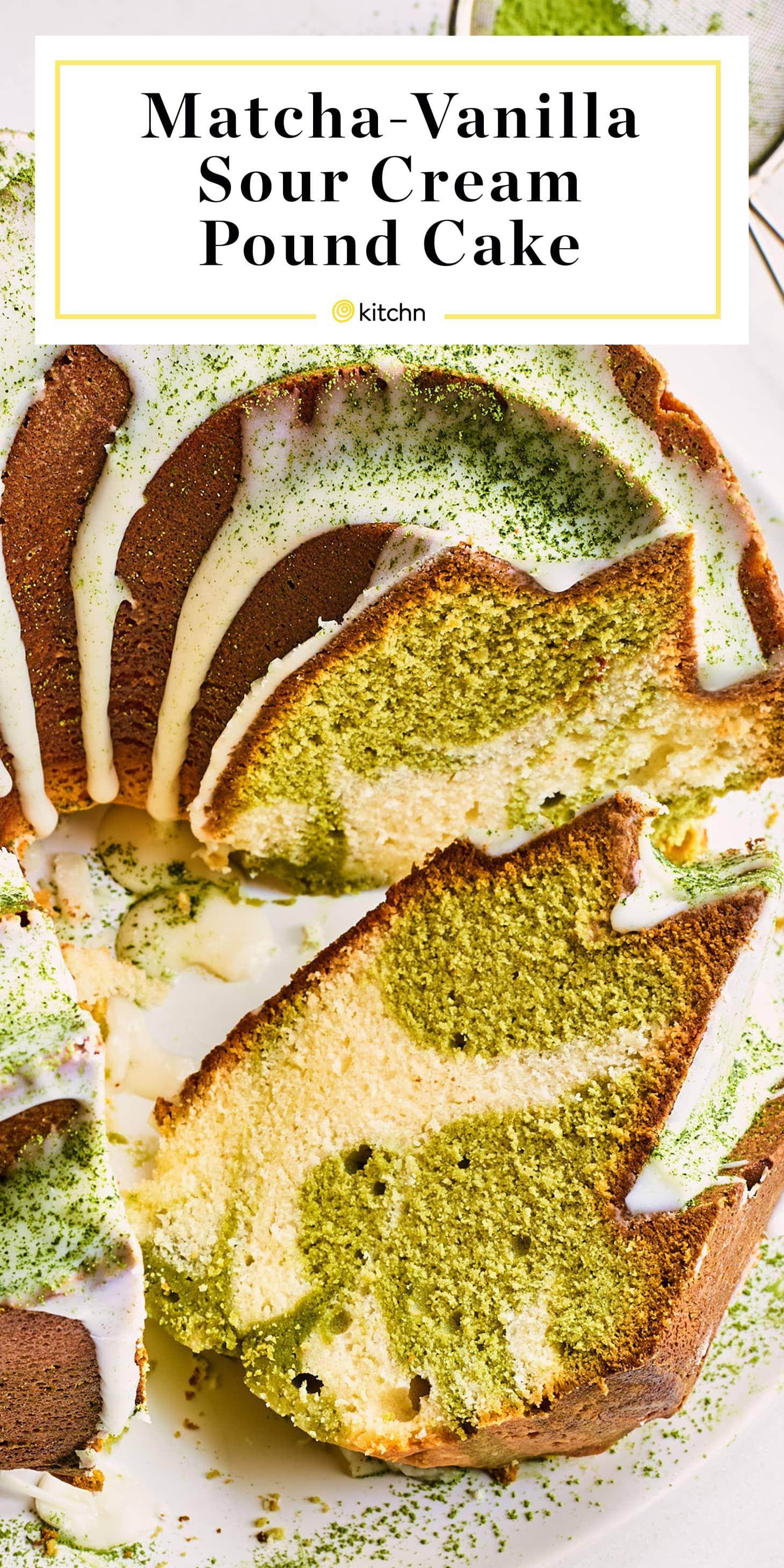 Recipe Matcha Vanilla Swirled Pound Cake Recipe Sour Cream Pound Cake Pound Cake Sour Cream Cake