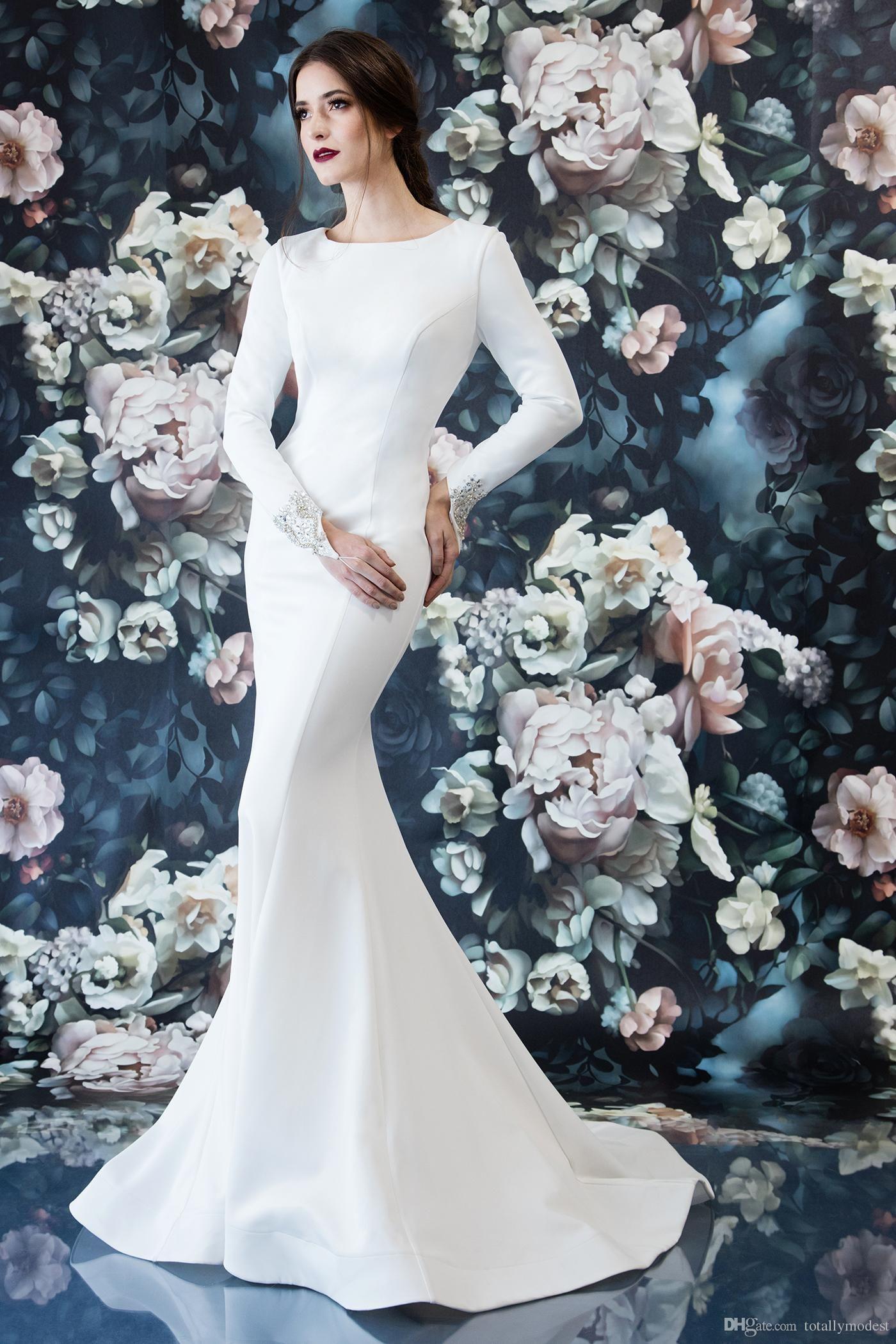 Simple Elegant Mermaid Crepe Modest Wedding Dresses With