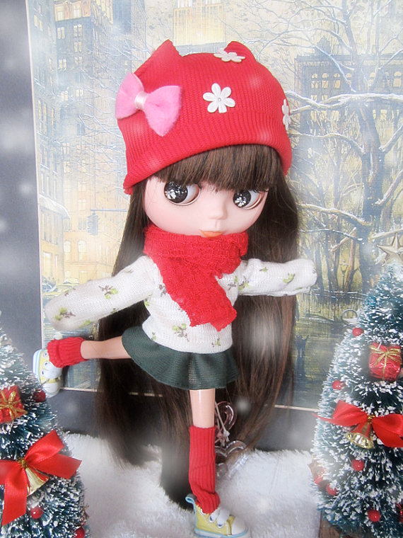 Blythe red green Christmas time sweater winter snow by buyblythe, ฿690.00