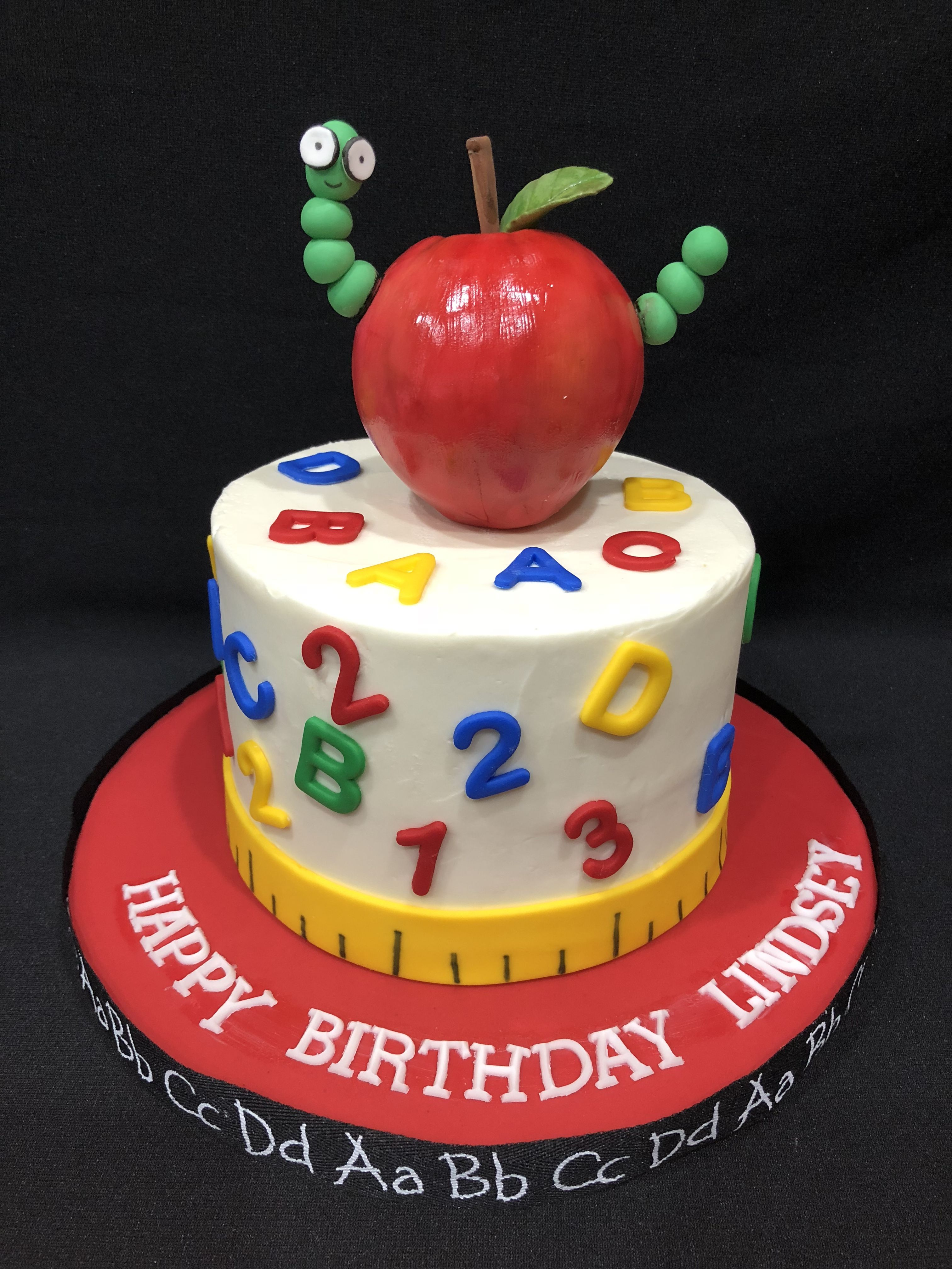Stupendous Teacher Birthday Cake With Bookworm In Apple With Images Funny Birthday Cards Online Fluifree Goldxyz