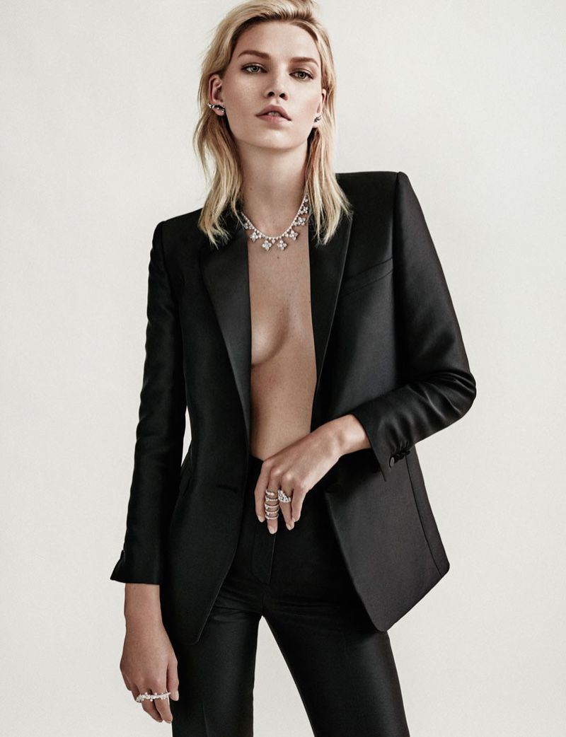 Aline Weber jewelry looks wears cropped pant suits Pose on Rabat Magazine winter 2015 Photoshoot