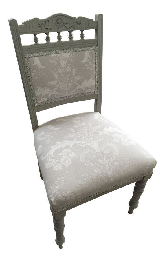 Shabby Chic Upcycled Edwardian Chair In Annie Sloan Paris Grey Laura Ashley Josette Seat FREE