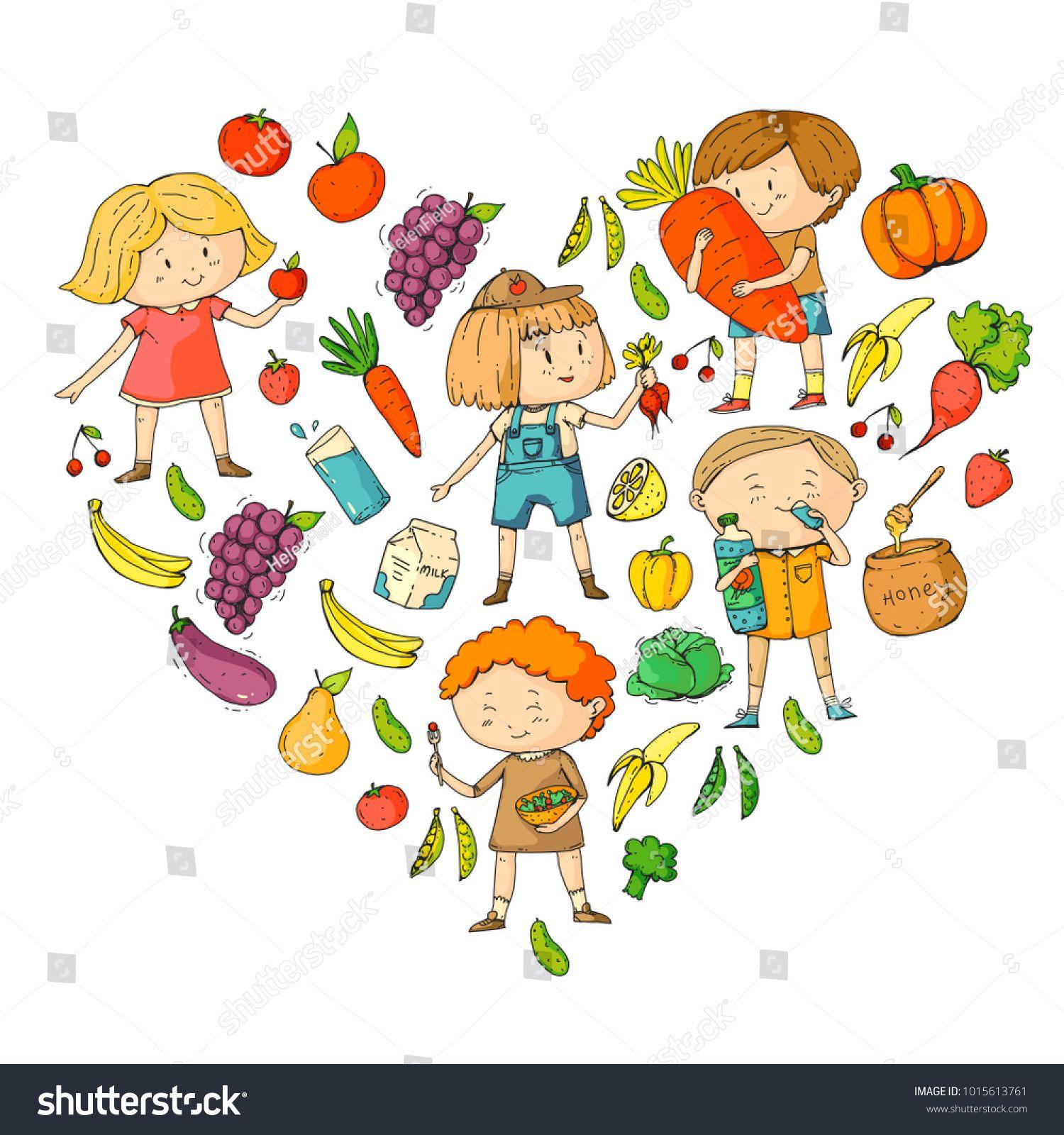 Children School And Kindergarten Healthy Food And Drinks Kids Cafe Fruits And Vegetables Boys And Girls Eat Healt Kids Cafe Preschool Patterns Kids School