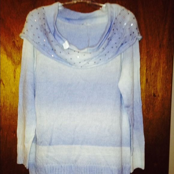 New York & co. Cowl neck sweater blue ombre XL Super adorable cowl neck sweater with sequins on the neck. Blue ombre. Super soft with some stretch. NWT. New York & Company Sweaters Cowl & Turtlenecks
