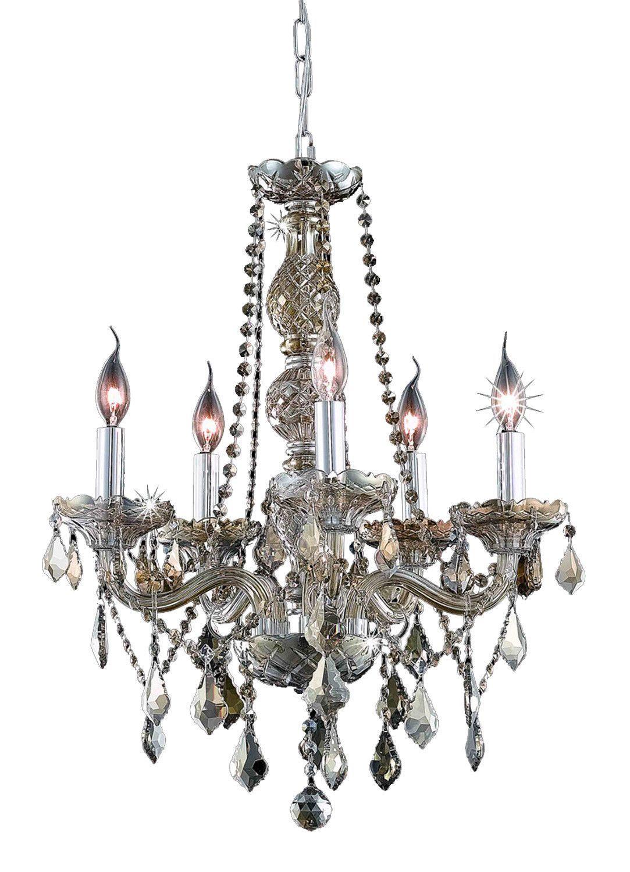 Elegant Lighting - 7855 Verona Collection Hanging Fixture D21in H26in Lt:5 Golden Teak Finish (Royal Cut Golden Teak Crystals)