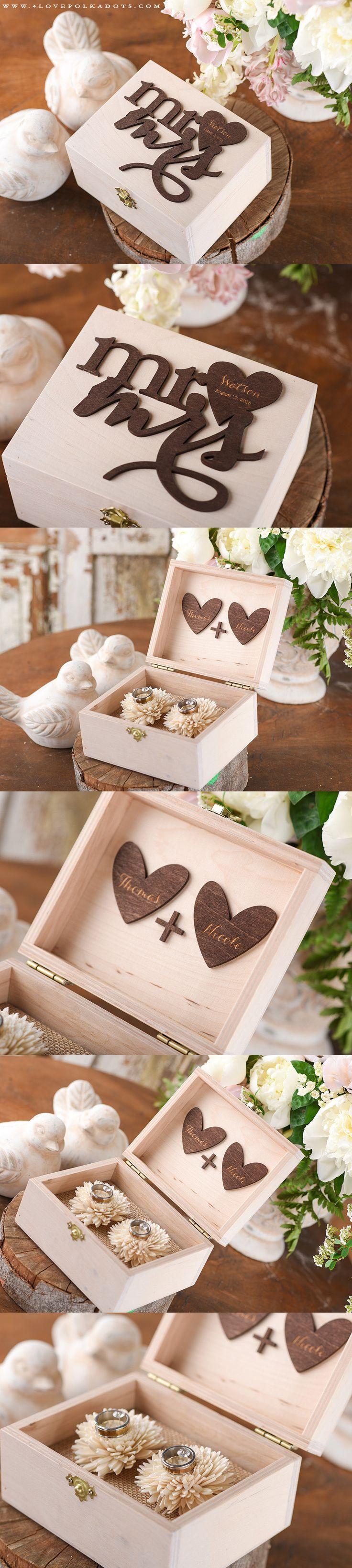 Mr & Mrs Wedding Wooden Ring Box with Your engraving #realwood #summerwedding #weddingideas