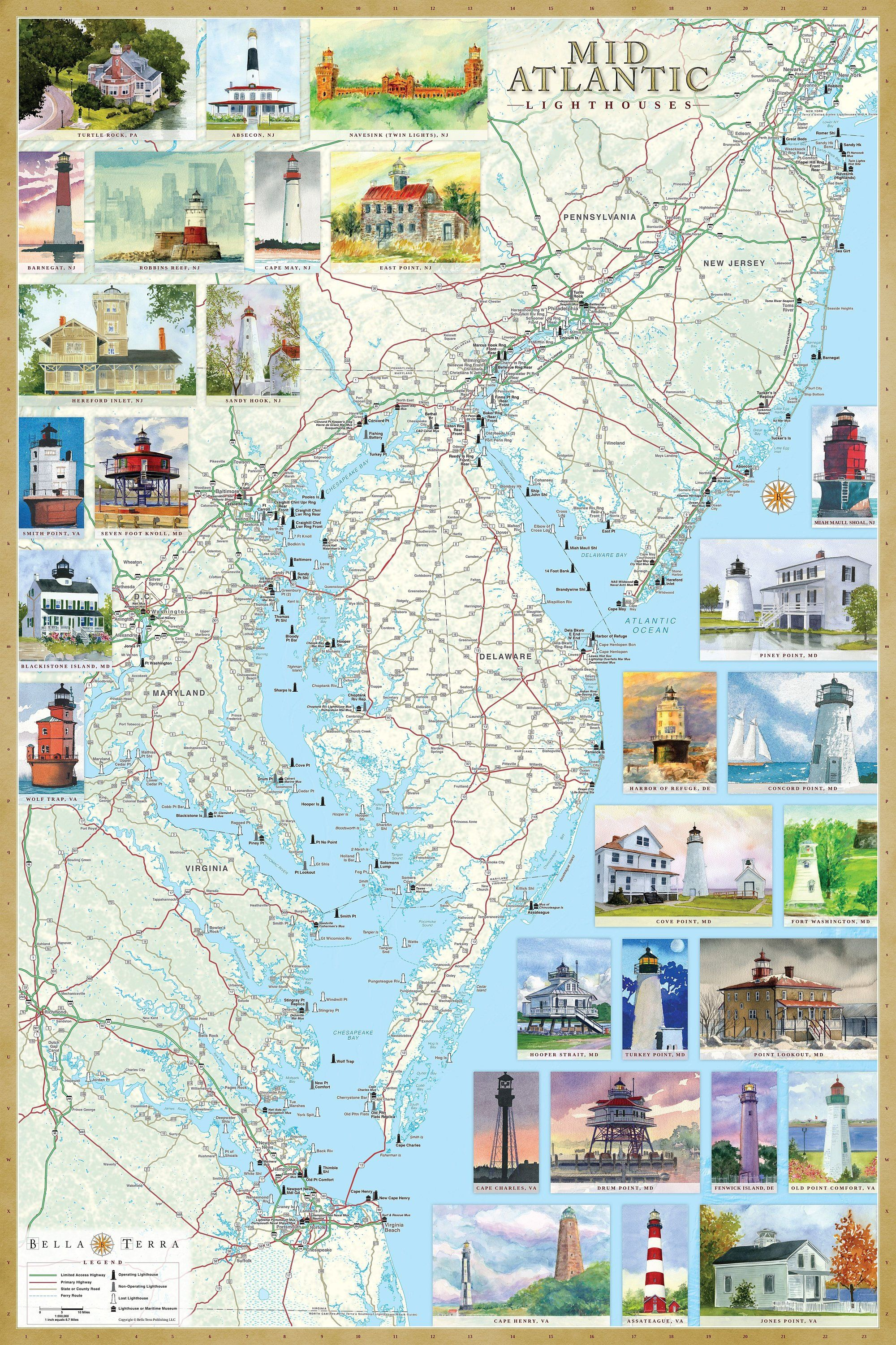 Mid Atlantic Lighthouses Illustrated Map Poster Usa East Etsy In 2021 Illustrated Map East Coast Lighthouses Lighthouse