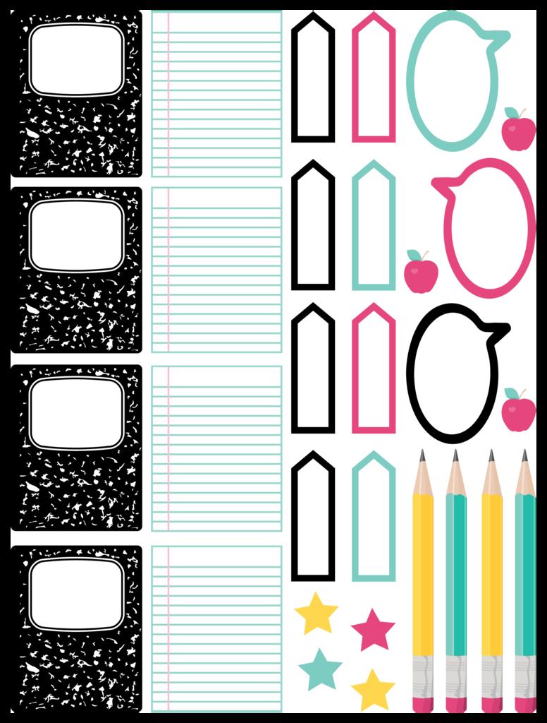 Free Back to School Planner Stickers Adesivos sticker