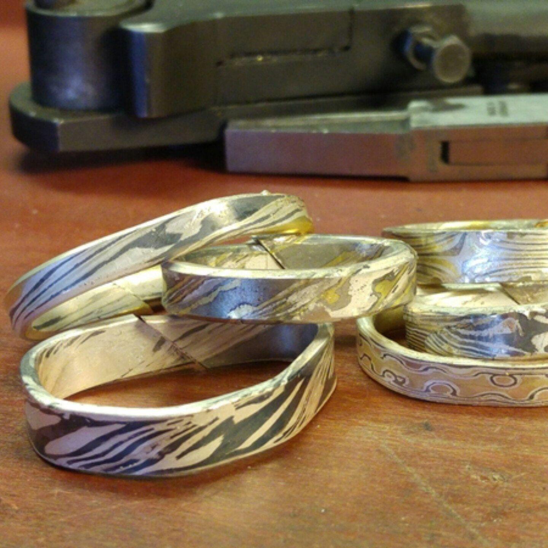 Eheringe Trauringe Mokumé Gane eine Traum in 925 Silber 585