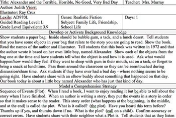 Alexander And The Terrible Horrible No Good Very Bad Day Lesson