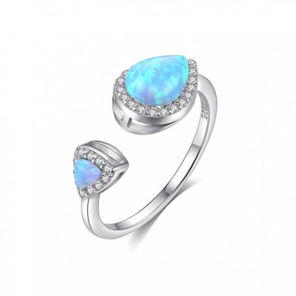 Blue Fire Teardrop Opal Ring Adjustable Vintage Style Engagement Rings Vintage Style Engagement Rings Vintage Inspired Engagement Rings Fashion Rings