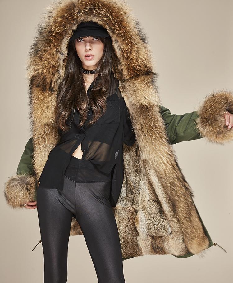70499f8c4e Women's Boutique Real Fur Collar Cuff Hooded Coat; Detachable Rabbit Liner  Parka