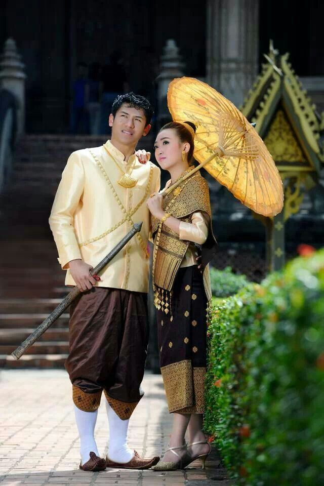 Bride And Groom In Lao Traditional Clothes Traditional Lao Wedding