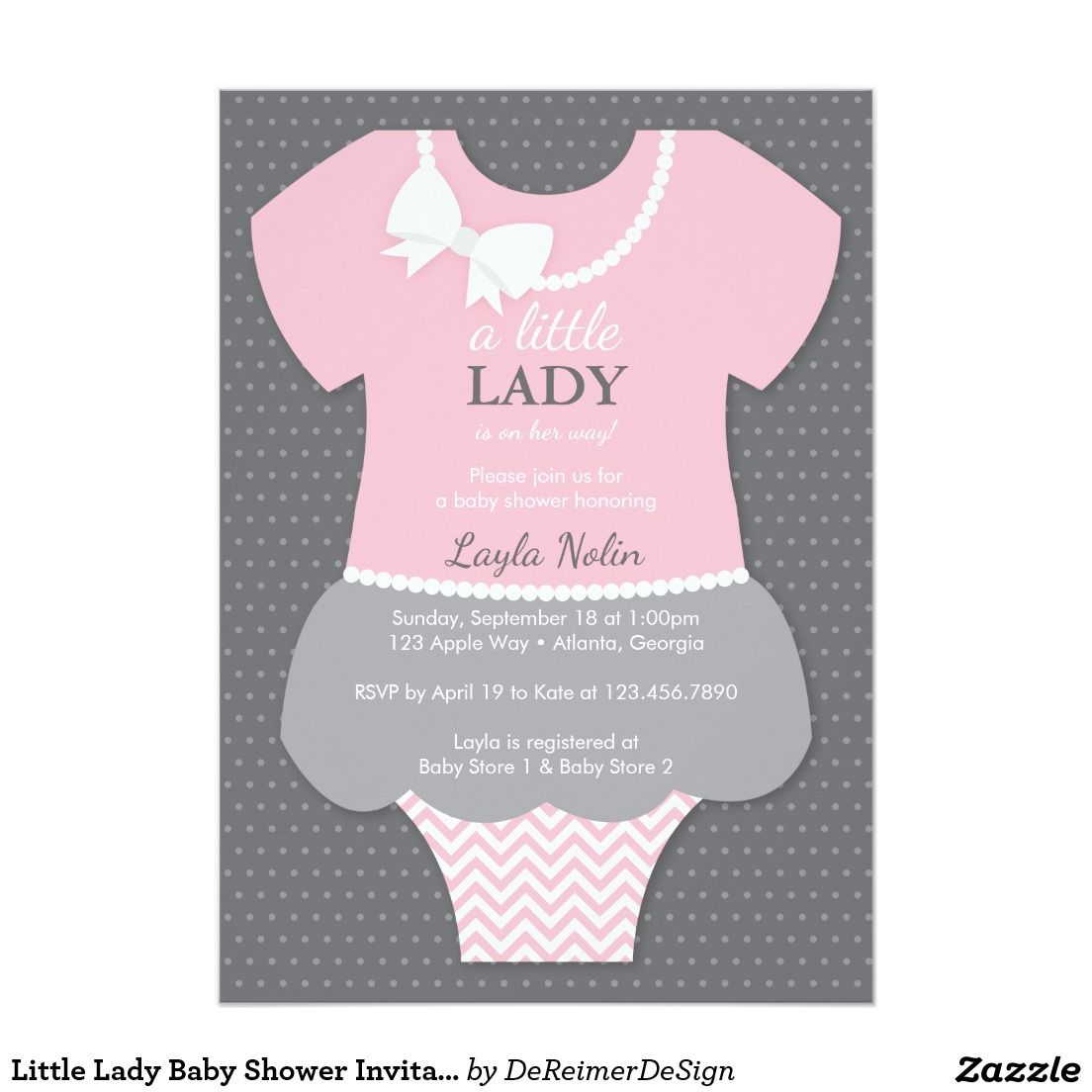 Little Lady Baby Shower Invitation Pink Pearls Invitation Baby