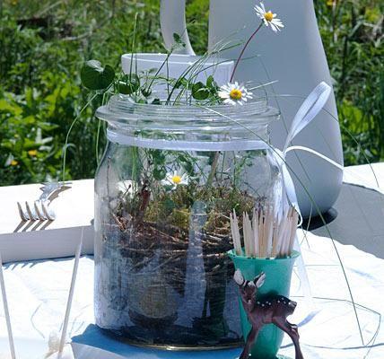 tischdeko mit blumen | gartenfest, mini garten und brunch, Garten seite