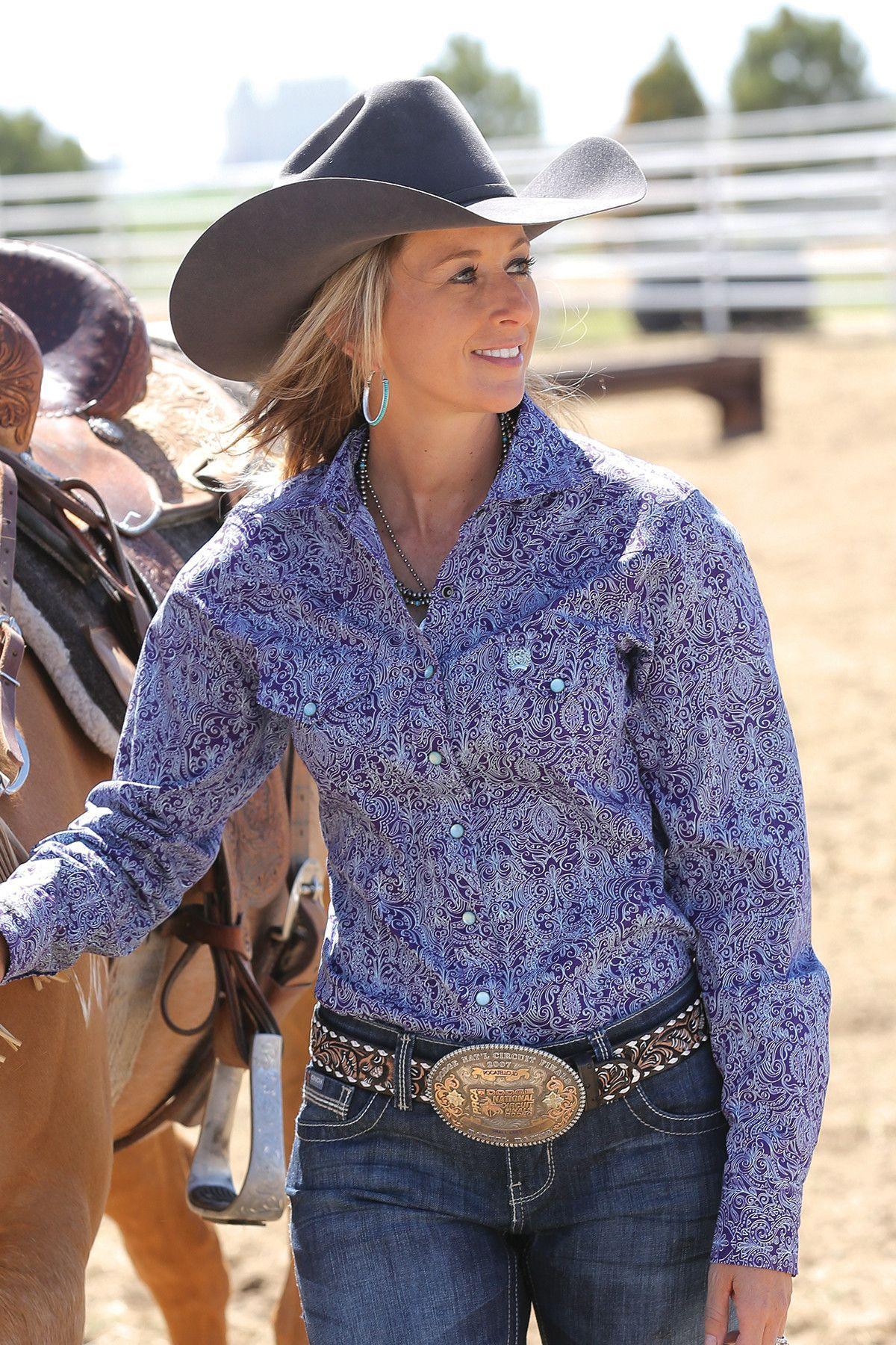 Cinch Women S Long Sleeve Snap Up Purple Western Shirt