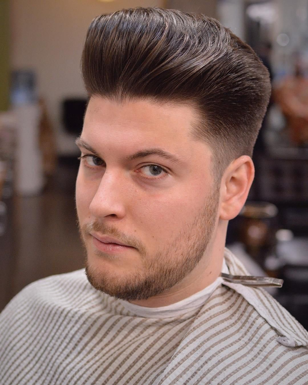 Classic Pompadour Hairstyles For Round Faces Round Face Men Pompadour Men