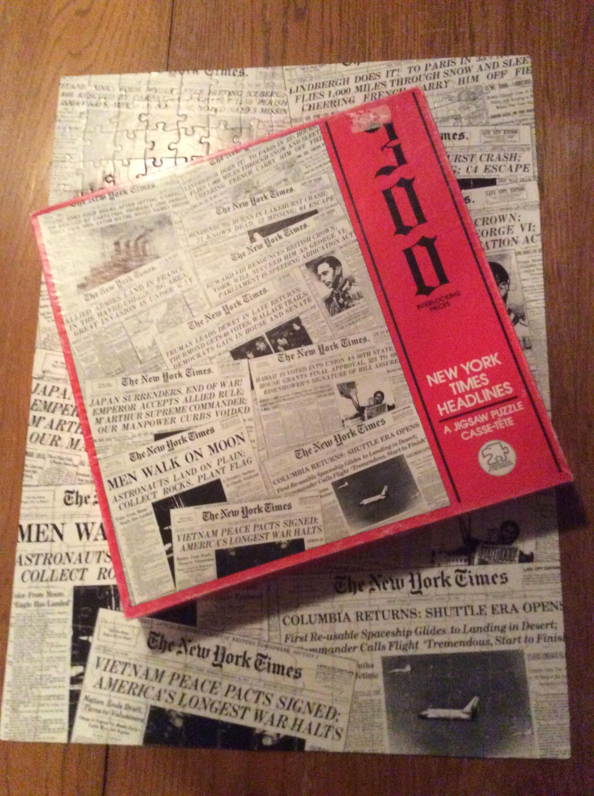 Vintage New York Times Headlines Puzzle COMPLETE Etsy